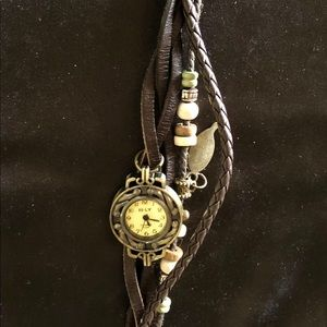 E- LY Boho Chic Brass, Brown Leather & Beads Watch